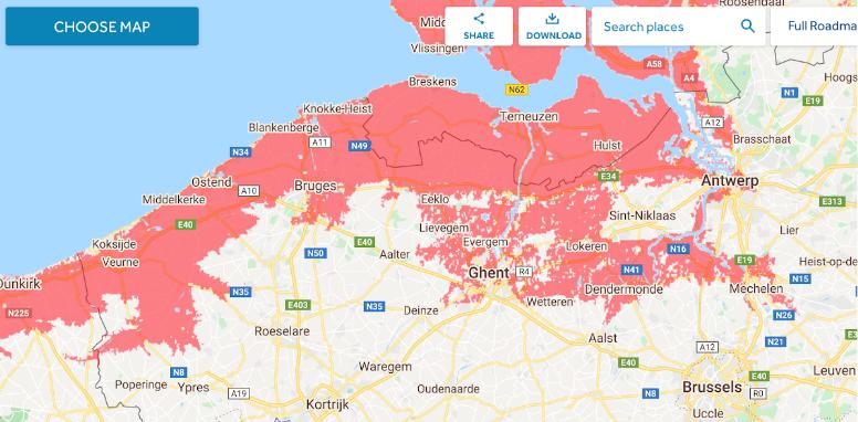 coastal flood threat in Belgium by coastal.climatecentral.org